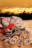Runes at sunset — Stock Photo