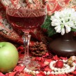 Still life with wine, apple and flowers - Stock Photo