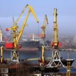 Harbour in mist — Stock Photo