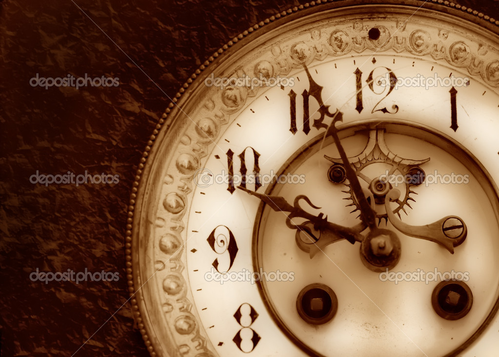 Old clock on the relief background — 图库照片 #1447616