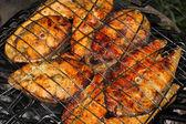 Salmon on grill — Stock Photo
