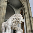 Marble lion by the Vorontsovsky palace - Stock Photo