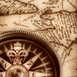 Compass on old map — Stock Photo #2027152