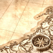 Stock Photo: Compass on old map