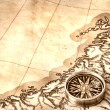 Compass on old map — Stock Photo