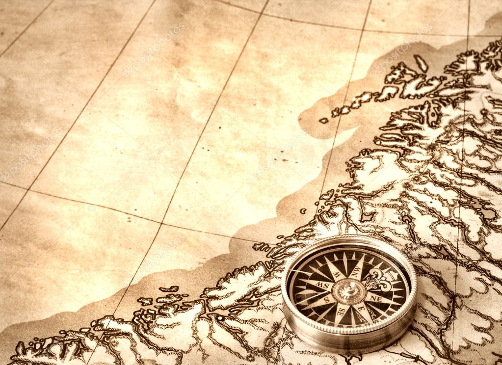 Compass on the old map — Stock Photo #2028496