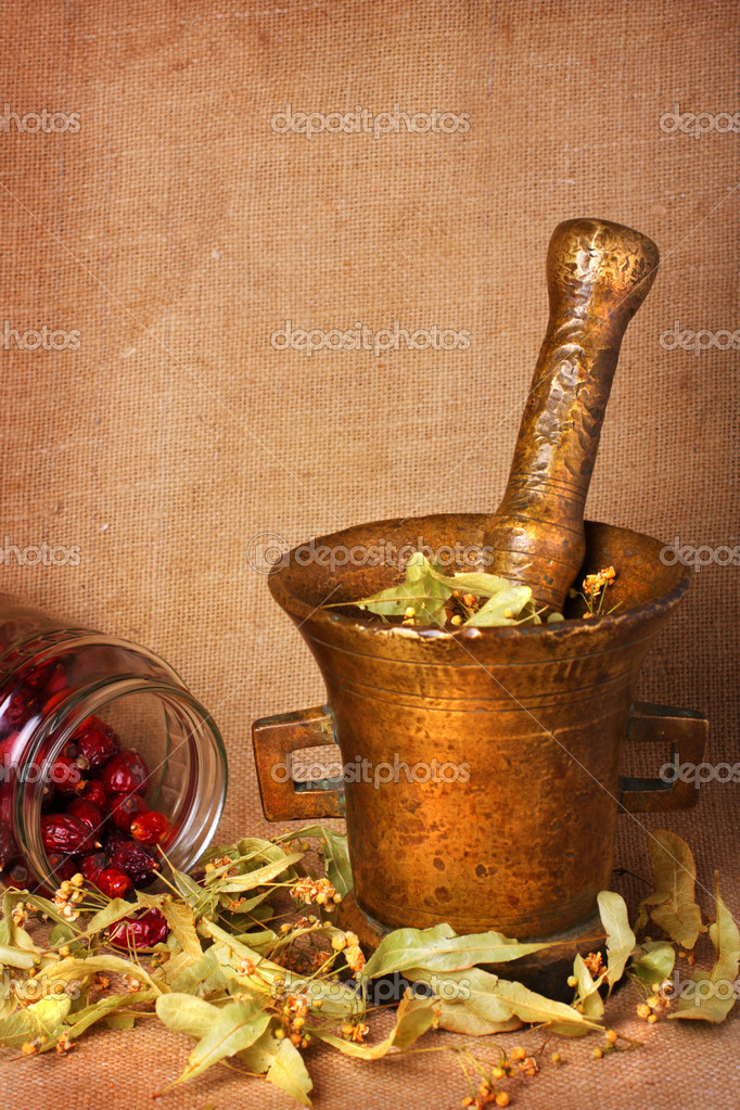 Old bronze mortar with dry herbs and rose hips on sacking background — Stock Photo #2028906