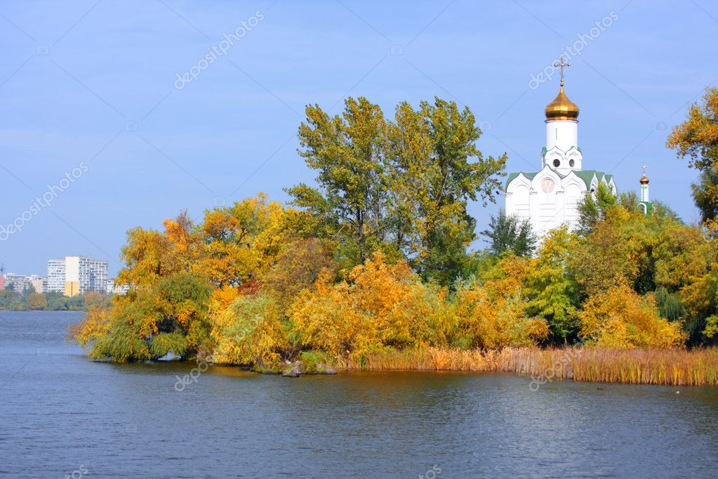 Church on the river Dnepr in Dnepropetrovsk, Ukraine  Stock Photo #2046888