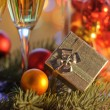 Stock Photo: New Year's gift and holiday decor