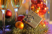New Year's gift and holiday decor — Stock Photo
