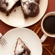 Chocolate cake with icing sugar - Stock Photo