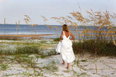 Bride In Sea Oats — Stock Photo