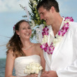 Tropical Beach Bride And Groom - Stock Photo