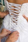 Lacing Wedding Gown — Stock Photo