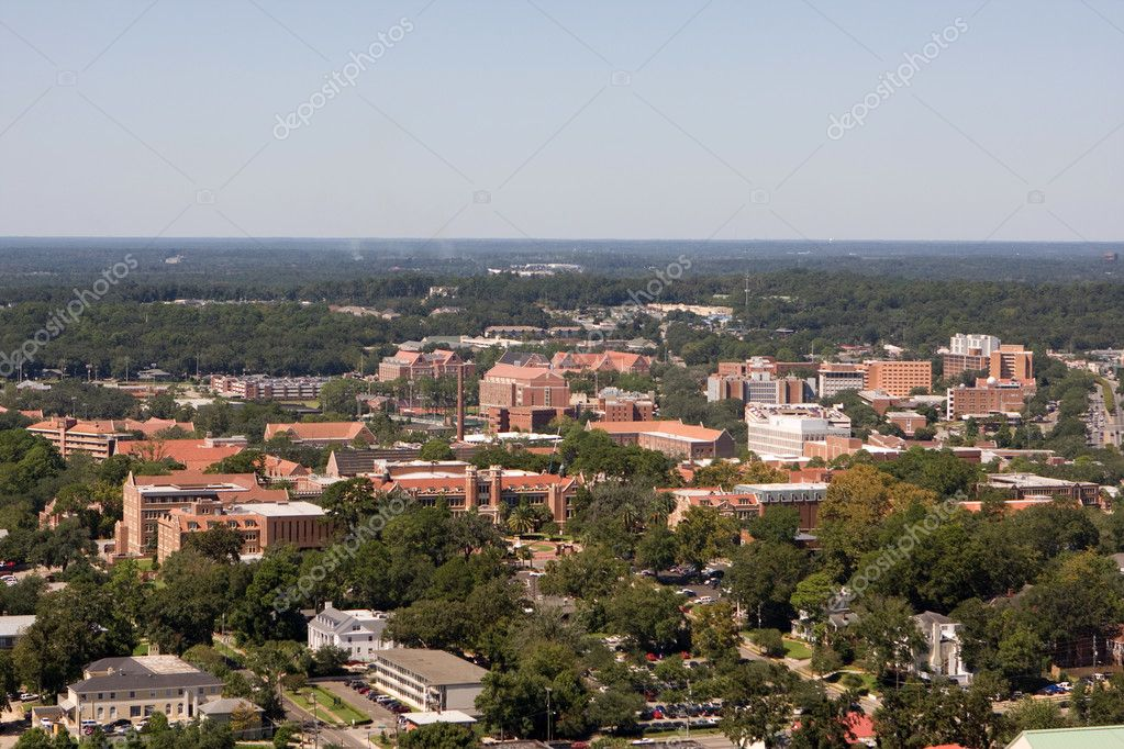 An aerial view of the campus of Florida State University looking west as seen from the 22nd floor of the Florida State Capital Building in Tallahassee. — Stock Photo #1412198