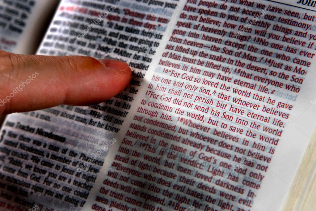 Man's finger points to John 3:16. verse in Bible. — Stock Photo #1413087