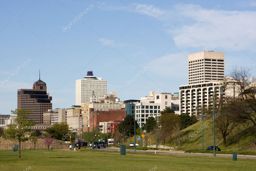 A view of the skyline of Memphis, Tennessee looking north from the Mississippi River.  Photo #1413121