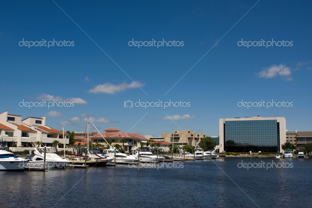 The Pensacola, Florida city skyline looking north from the yacht basin. — Stock Photo #1413899