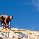 Carpenter Using Nail Gun — Stock Photo