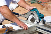 Cutting Soffit With Circular Saw — Stock Photo