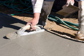 Finishing Concrete Sidewalk — Stock Photo
