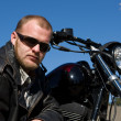 Man With Motorcycle — Stock Photo