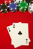 Pocket aces on the button — Stock Photo