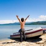 Rejoicing fisherman — Stock Photo