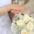Bride and grooms hands — Stock Photo