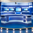 Blue television studio — Stockfoto