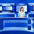 Television anchorwoman at TV studio — Stock Photo