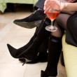 Stock Photo: Glass of wine in female hand