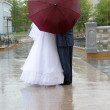 Bride and groom under umbrella — Stock Photo