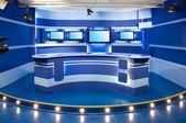 Blue television studio — Stock Photo