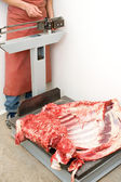 Meat weighting — Stock Photo