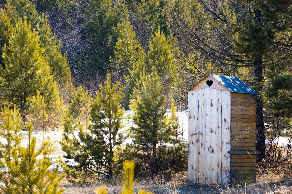 Small wooden toilet in winter pine forest — Stock Photo #1404979