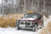 Off-road vehicle in winter forest — Stock Photo