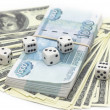 Dollars+rubbles+dices — Stock Photo