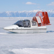 Winter patrol boat vertical — Stock Photo