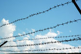 Sky through barbwire — Stock Photo