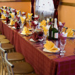 Banquet bordeaux table — Stock Photo