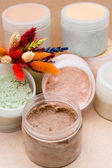 Jars with body scrub — Stock Photo