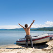 Stock Photo: Rejoicing fisherman