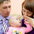 Young family, husband is jealous of wife — Stock Photo