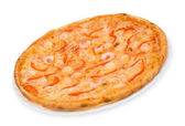 Pizza with shrimps, clipping path — Stock Photo