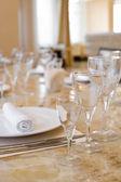Laid restaurant table — Stock Photo