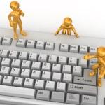 Three men on keyboard — Stock Photo