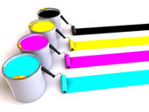 Rollers brush and buckets of paint — Stock Photo