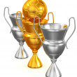 Royalty-Free Stock Photo: Three Cups with ball