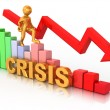 Man on diagram. Crisis — Stock Photo